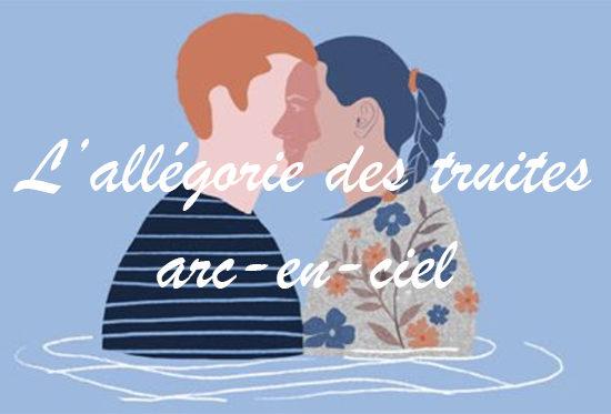 Avec L'Allégorie des truites arc-en-ciel, Marie-Christine Chartier dépeint avec justesse la fine ligne qui existe entre l'amitié et l'amour.
